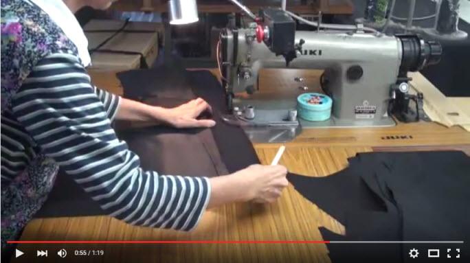 特殊ミシンを使った 学生服の生産工場